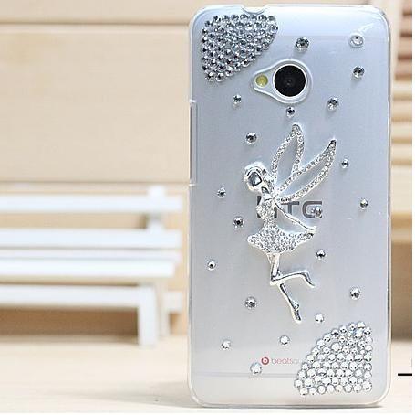 Чехол HTC один пластик, роскошь 3D кристалл ангел чехол со стразами алмаз жёсткая чехол аксессуары для чехол M7 чехол