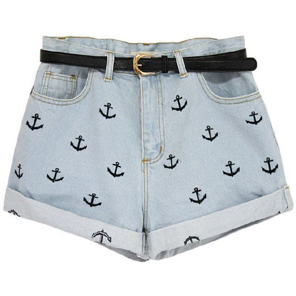 Nautical Jean Shorts ($58) found on Polyvore
