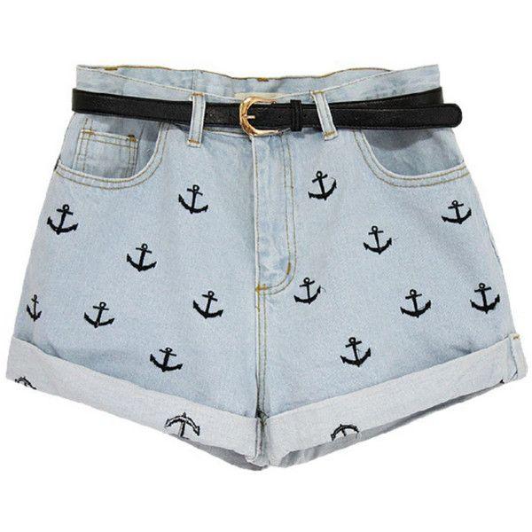 Nautical Jean Shorts - Polyvore