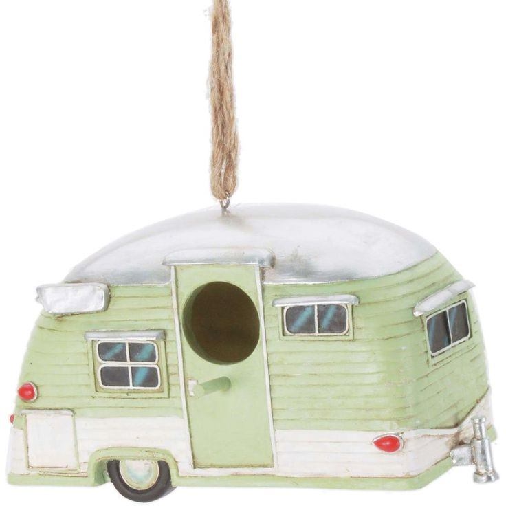 Whimsical Trailer Birdhouse Vintage Pull Behind Camper Bird House Green  #Unbranded