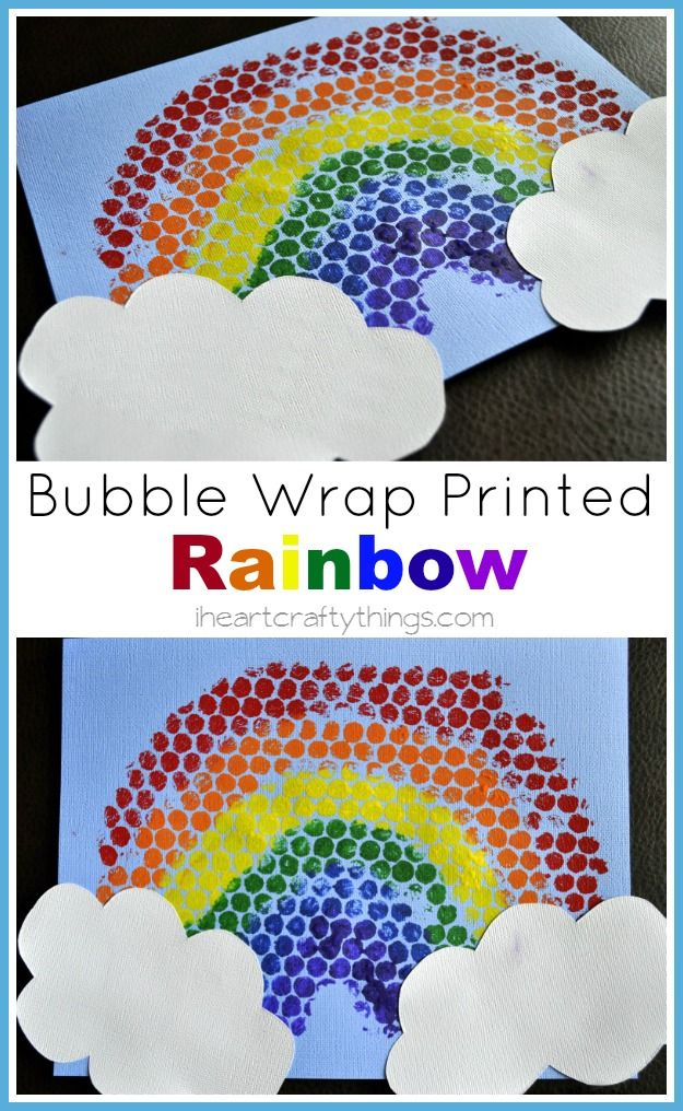 Rainbow Kids Craft | Paint bubble wrap like a rainbow and print it on paper. | from iheartcraftythings.com