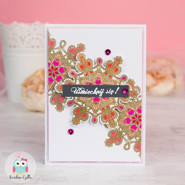 Heat ebmossinc card with beautiful lace stamp coloured with Karin brushmarkers pro. #cardmaking