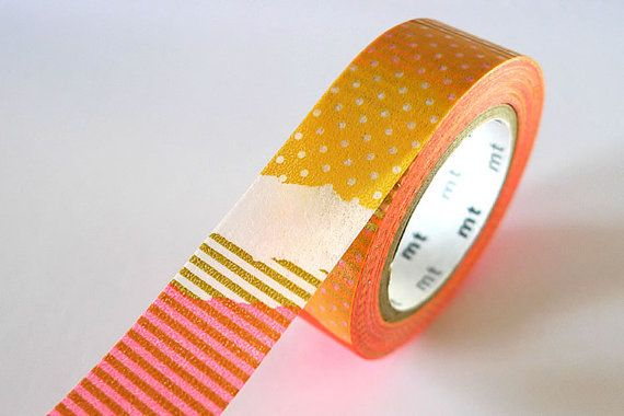 Bright orange patch collage washi tape 15mm japanese mt masking tape - prettytape