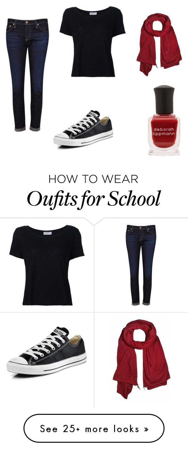 """""""A normal school day..."""" by jwehausen on Polyvore featuring AG Adriano Goldschmied, Converse, Frame, donni charm and Deborah Lippmann"""