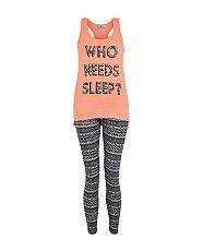 Ensemble pyjama ado orange à imprimé aztèque et Who Needs Sleep | New Look