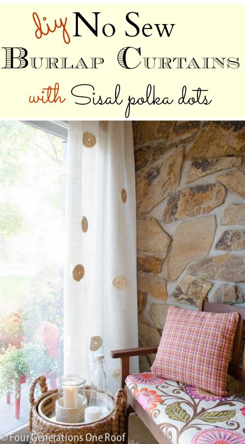 My No Sew DIY white burlap curtains with twisted sisal roping embellishment. Easy & Inexpensive solution to add character and texture to a room. @Four Generations One Roof