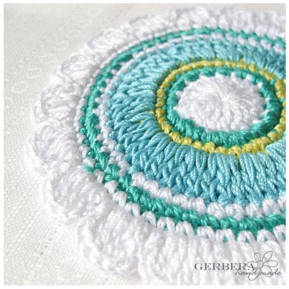 Crochet Coasters/Doilies of Multicolor Set of 3 by RainbowGerbera