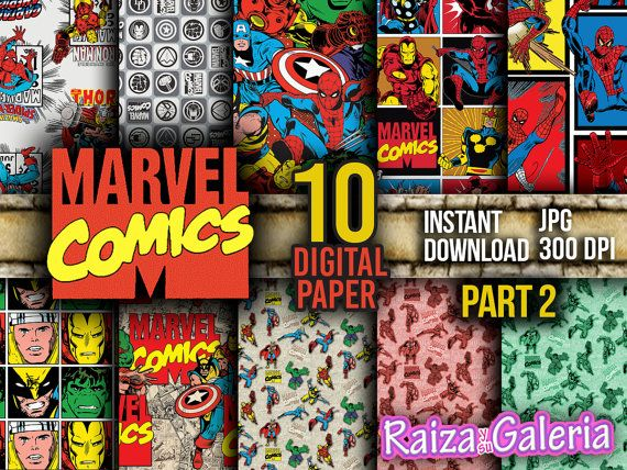 AWESOME Marvel Comic Digital Paper. PART 2 by RaizaysuGaleria