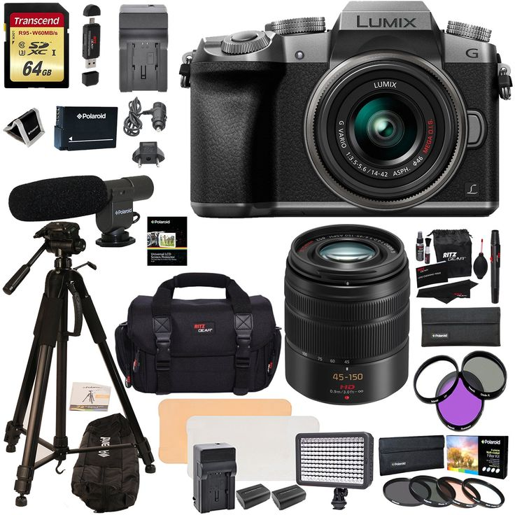 "Panasonic DMC G7KS Mirrorless 4K Camera 14-42mm Lens Kit + Panasonic H-FS45150AK Lumix G Vario 45-150mm Lens + 2 Transcend 64 GB + LED Light Flash + Polaroid 72"" Tripod + Microphone + Accessory Bundle. Superb DSLM image quality without the bulk and weight of traditional DSLRs. Never miss a photo with three unique 4K Ultra HD Video pause and save 4K Photo Modes. Class-leading, ultra-compact, interchangeable lens and accessory options. Fast and precise auto focusing tracks the subject --..."