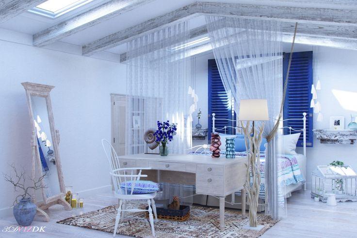 Спальня молодой девушки на мансарде.Дизайн Катерина Фаворова - Галерея 3ddd.ru