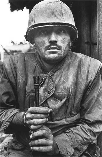 Don McCullin CBE.The Fighting and frightening futility of war.Vietnam USA marine frozen in thoughts of terror.