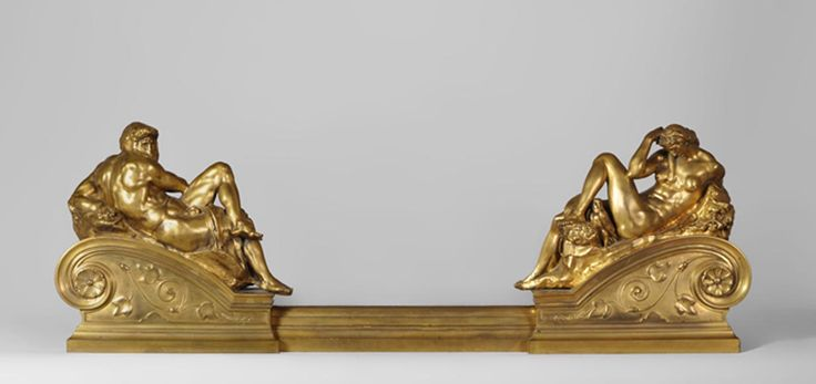 """Ferdinand BARBEDIENNE - """"Night"""" and """"Day"""", exceptional antique gilt bronze fire fender after the tomb of Giuliano di Lorenzo de Medici by Michelangelo (Reference 10376) - Available at Galerie Marc Maison - #gilt #bronze #fire #fender #french #antique #barbedienne #michelangelo #MarcMaison #19thcentury #frenchantiques"""