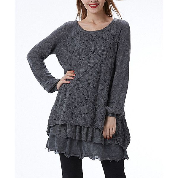 Simply Couture Gray Pointelle Ruffle Layered Sweater ($30) ❤ liked on Polyvore featuring plus size women's fashion, plus size clothing, plus size tops, plus size sweaters, plus size, plus size long sweaters, plus size pullover sweaters, pointelle sweater, pullover sweaters and long grey sweater