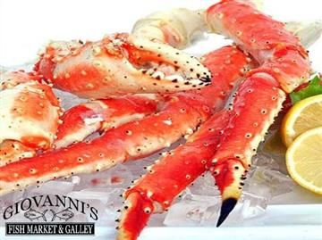 """GIOVANNI'S FISH MARKET & GALLEY! - Alaskan Red King Crab:  Hailed by many as the Best Crab on Earth, The """"RED"""" King Crab no doubt has a reputation all its own. A must for any party, full to the rim with huge hunks of lucious super-sweet and slightly salted meat, If it's huge hunks of meat you want these babies are for you!  Family owned and operated in Morro Bay, California for over 25 years.  Order Seafood Online!"""