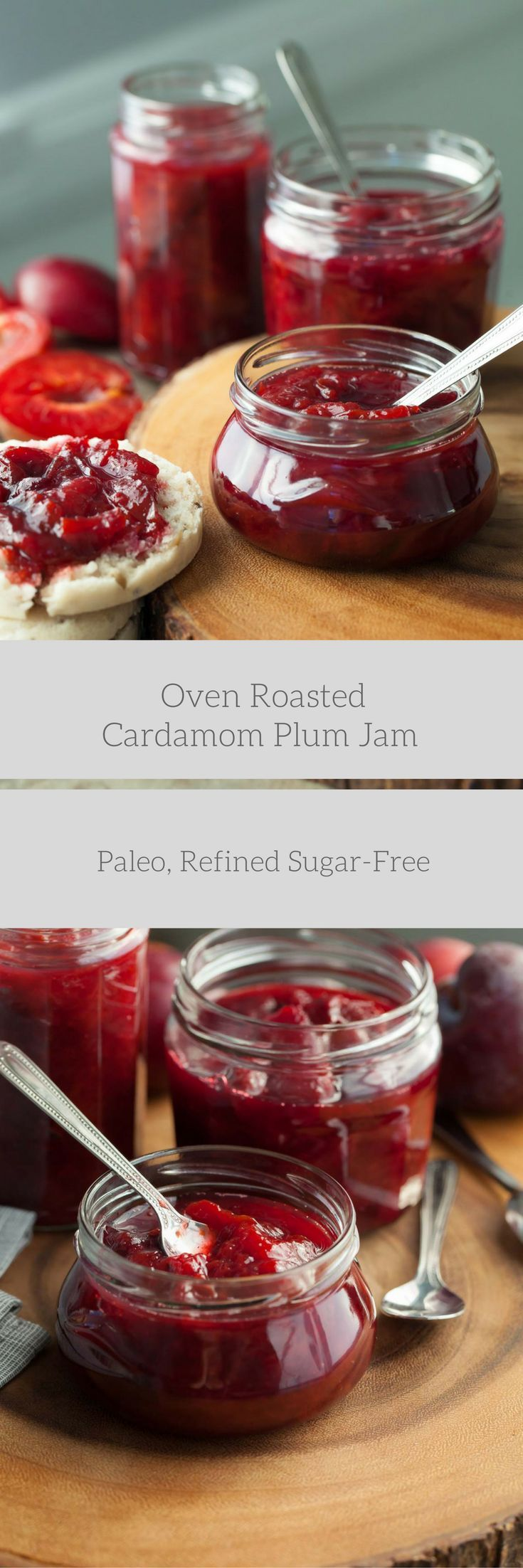 Oven Roasted Plum Cardamom Jam (Paleo, Refined Sugar-Free) - A naturally sweetenedand delicately spiced sweet/tart plum spread that's easily made in the oven.