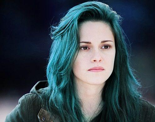 Kristen Stewart Pastel Teal Blue Hair Colorful Hair