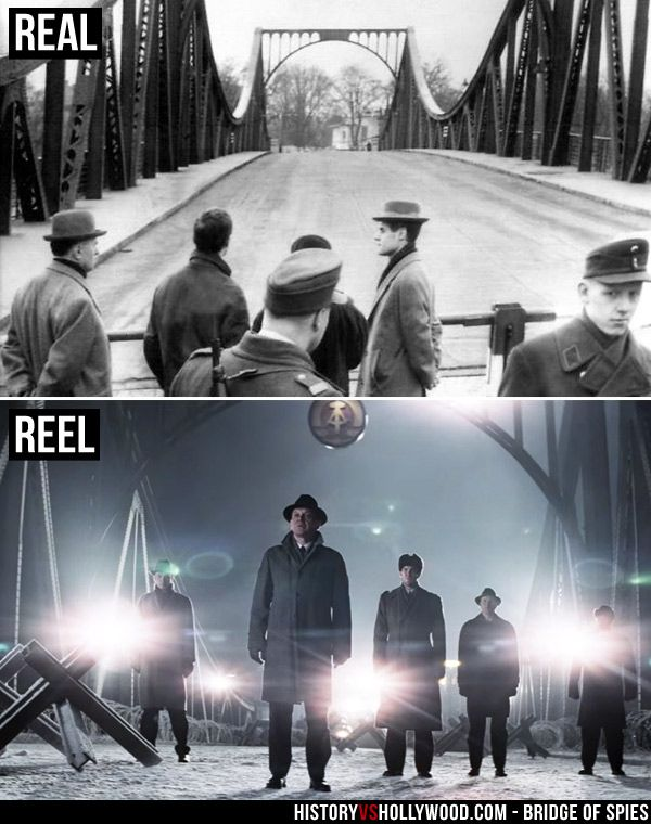 Glienicke Bridge prisoner exchange depicted in the Bridge of Spies movie, where Soviet spy Rudolf Abel was exchanged for American pilot Francis Gary Powers. See more pics at http://www.historyvshollywood.com/reelfaces/bridge-of-spies/