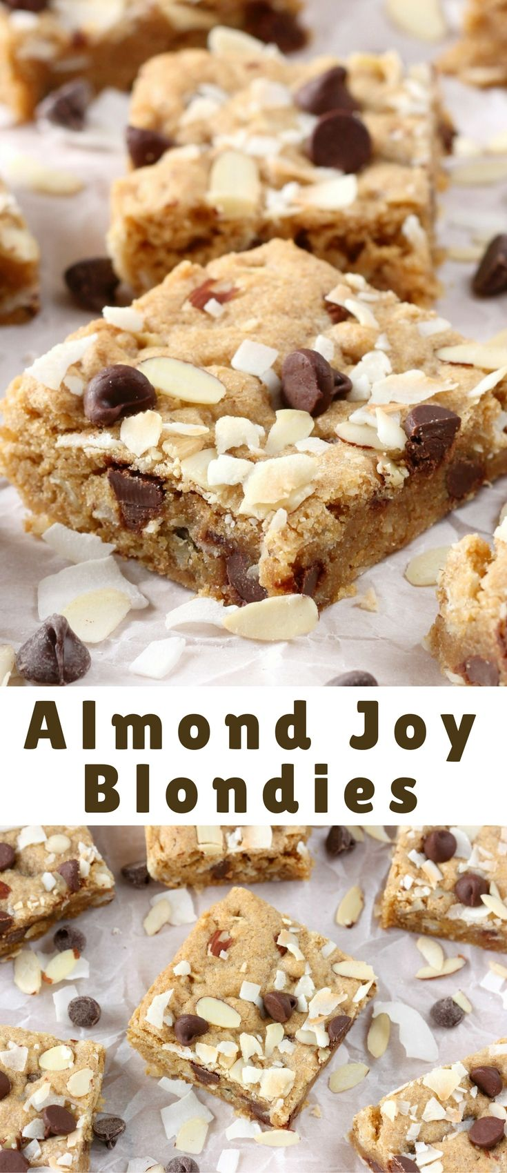 These Almond Joy Blondies are a super easy rich blondie stuffed with all of the flavors of an almond joy bar!