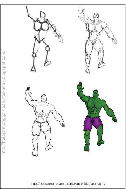 Belajar Menggambar Untuk Anak Cara Menggambar Kartun Hulk
