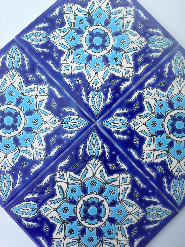 Trivet Ceramic Decor Ocean Blue Tiles Mediterranean by CretanPast