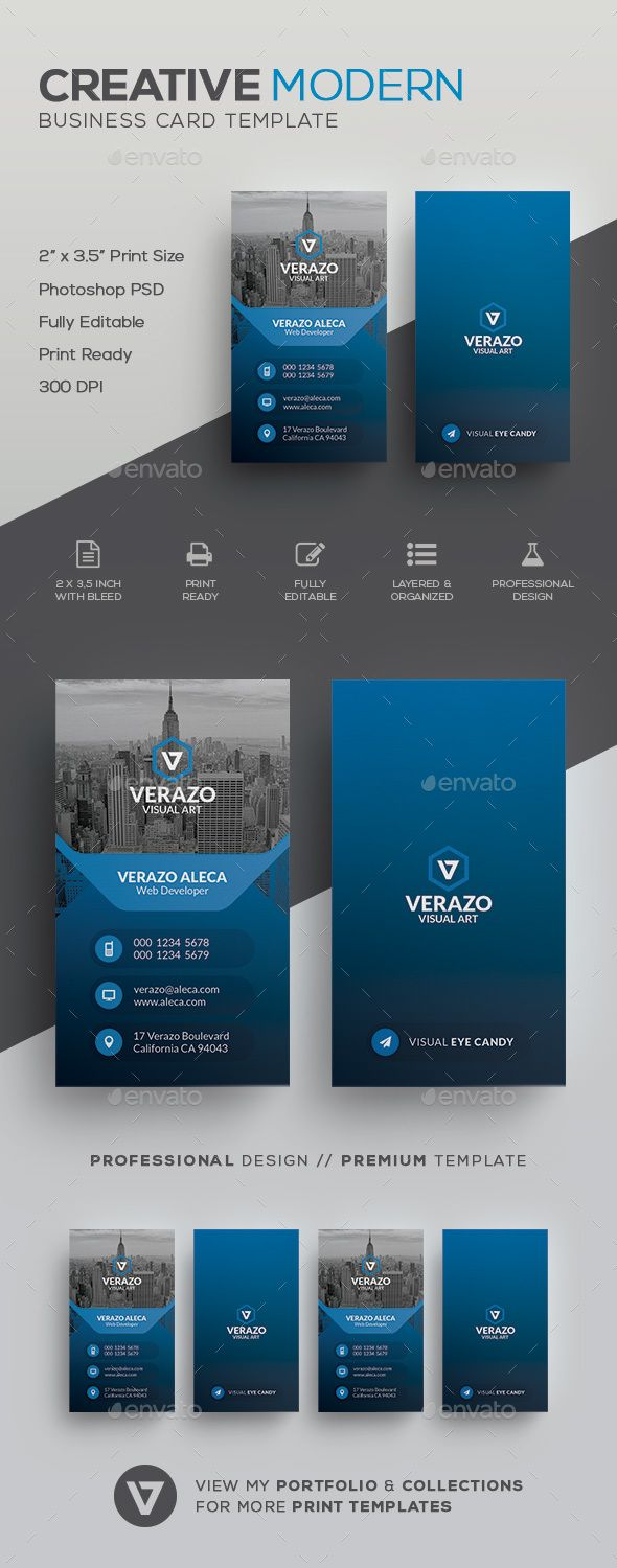 Modern Business Card Template by verazo Need more high quality business card? View my Business Card Templates Collection OR Save Money! Buy Business Card Bundle for only