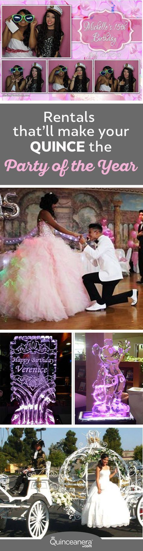 "Here are the top 6 Quince rentals that'll make your guests rate your celebration ""Party of the Year!"" - See more at: http://www.quinceanera.com/planning/quince-rentals-thatll-make-celebration-party-year/?utm_source=pinterest&utm_medium=social&utm_campaign=planning-quince-rentals-thatll-make-celebration-party-year#sthash.GVelCJUx.dpuf"