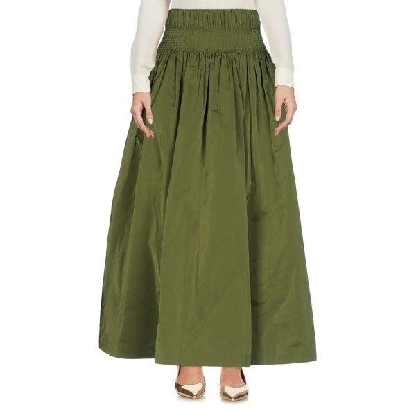 Dries Van Noten 3/4 Length Skirt ($525) ❤ liked on Polyvore featuring skirts, military green, army green skirt, dries van noten, olive green maxi skirt, dries van noten skirt and zipper skirt