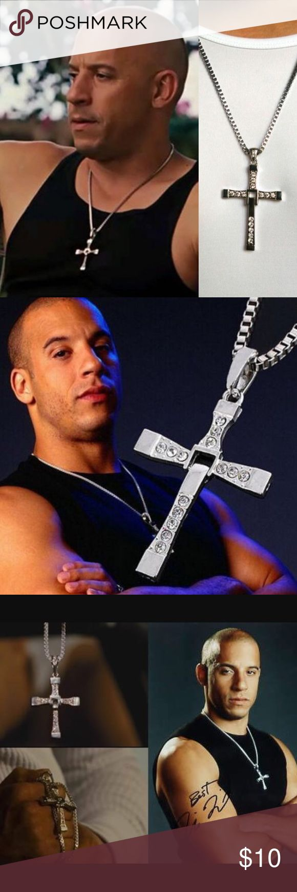 Crystal Cross Necklace Brand New ⭐️ NO TRADES ‼️  2-3 business day processing time ~~~~~~~~~~~~~~~~~~~~~~~~~~~   Vin diesel fast furious car movie silver men's jewelry Jewelry Necklaces