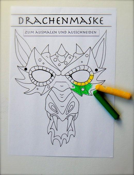 Von mir gezeichnet, von Euch ausgemalt! Verwandelt Euch in einen Drachen! Eine Maske zum immer wieder ausdrucken! Anmalen, Ausschneiden, Aufsetzen - fertig.  Feyert doch mal eine Drachenparty