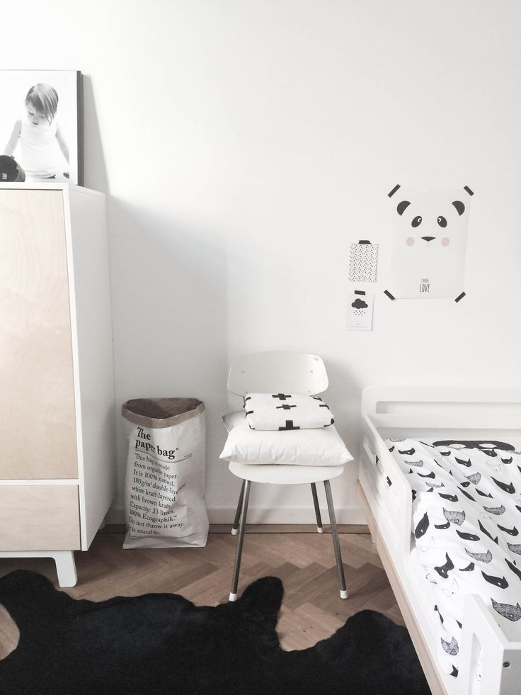Beau's Room: Oeuf NYC Classic Toddler bed, Pax & Hart Crying Mini poster, Eef Lillemor Panda Love Poster, Pia Walen Cross blanket, Beau Loves bedding, Kartell Nightstand, Muuto Wooden Lamp, Oeuf NYC Sparrow Wardrobe, The Paper Bag
