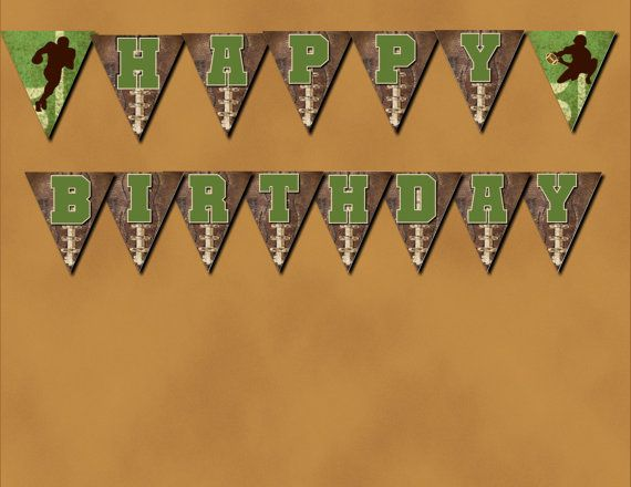 Vintage Football HAPPY BIRTHDAY Banner Bunting Instant Digital Download