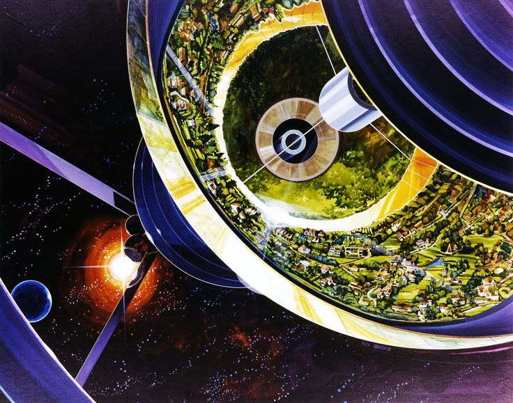 Bernal Spheres - Exterior View Population: 10,000. The Bernal Sphere is a point design with a spherical living area. Art work: Rick Guidice