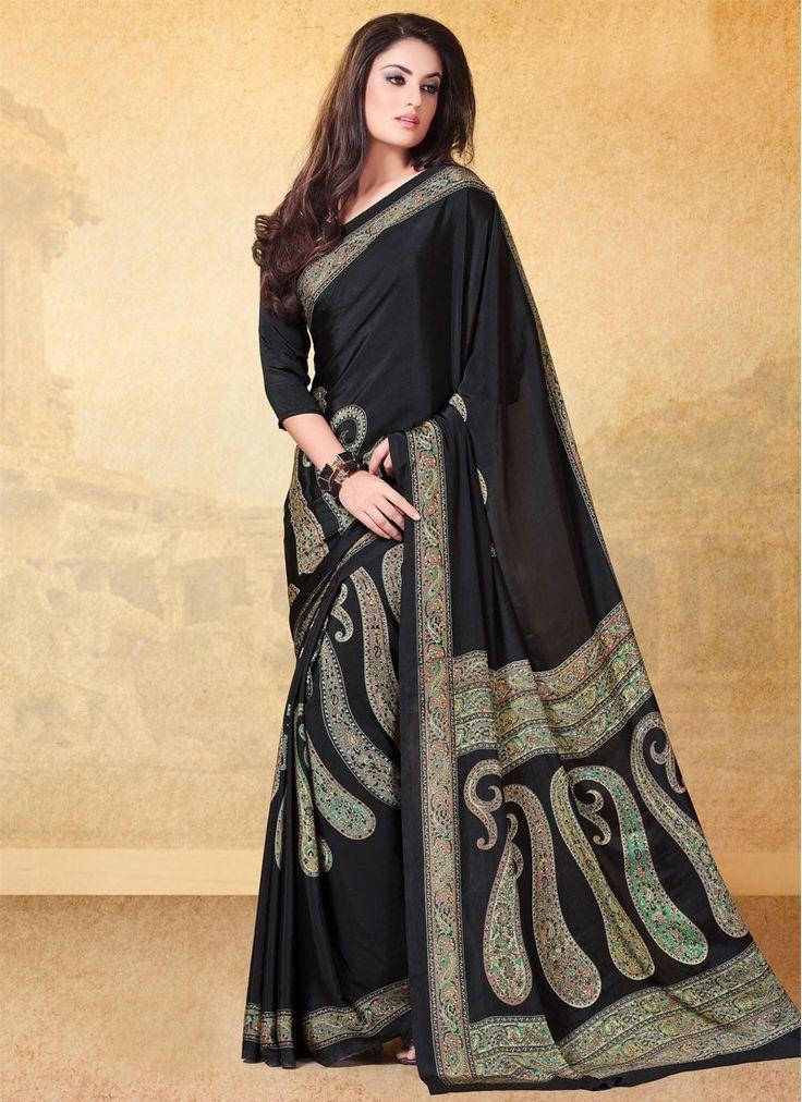 Sari indien Impeccable Faux crêpe de soie Imprimé, travaillé pas cher - Avena sari