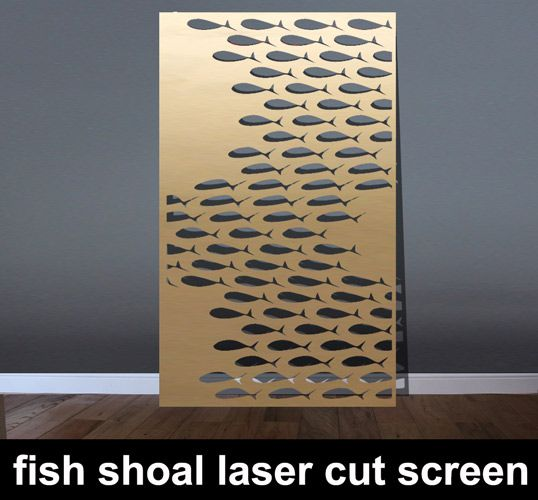 Fish Shoal laser cut metal room partitions in brass