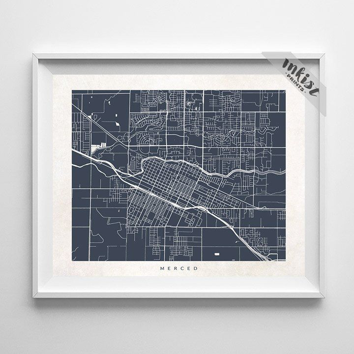 Merced, California Street Map Print. Prices from $9.95. Available at www.InkistPrints.com #WallDecor #Merced