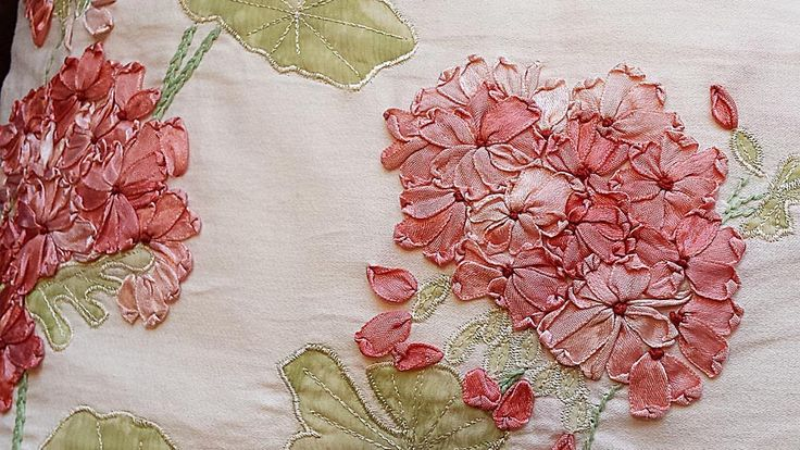 Close up of embroidery by Laura Ashley