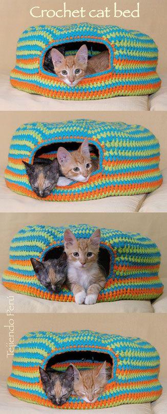 Katzenbett häkeln........ mit Anleitung auf der Seite,mit vielen Bildern (nicht in deutsch)