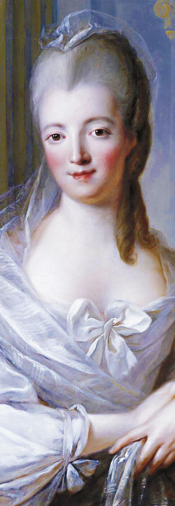 FRANÇOIS-HUBERT DROUAIS. Portrait of a young woman, half-length, wearing a white dress with a large bow (detail). Paris, 1758.
