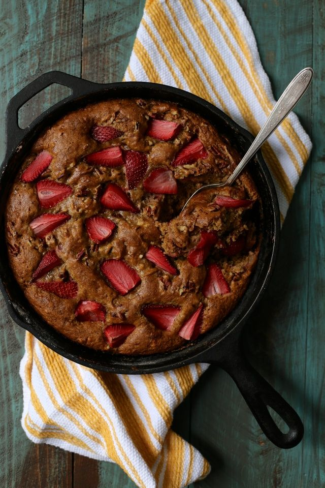 Brown Butter Banana Skillet Cake with Strawberries and Pecans | http://joythebaker.com/2015/03/brown-butter-banana-skillet-cake-with-strawberries-and-pecans/