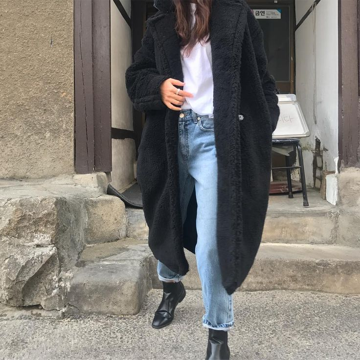 sherpa black coat, straight jeans, plain white tee, black boots outfit