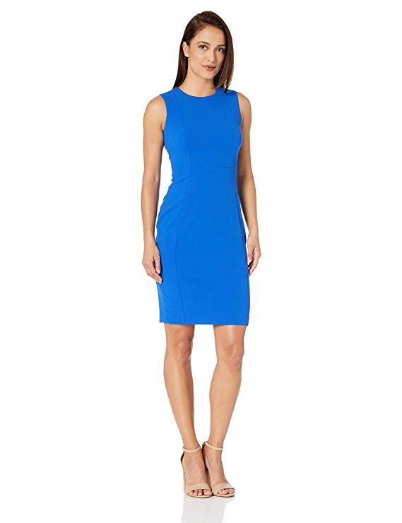 e4a2b373 Calvin Klein Women's Petite Sleeveless Scuba Crepe Sheath Dress at Amazon  Women's Clothing store: