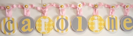 grey + yellow wall letters. perfect for spring!: Pink Color, Pink Kids Rooms, Yellow Wall, Color Combos, Grey Yellow, Kids Baby Stuff, Baby Rooms Letters, Yellow Nurseries, Nurseries Ideas