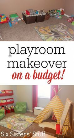 Check out our Kid's Playroom Makeover on a Budget! A few small changes made this small room into an awesome playroom for kids Toy Room Makeover, Toy Room Ideas #kids