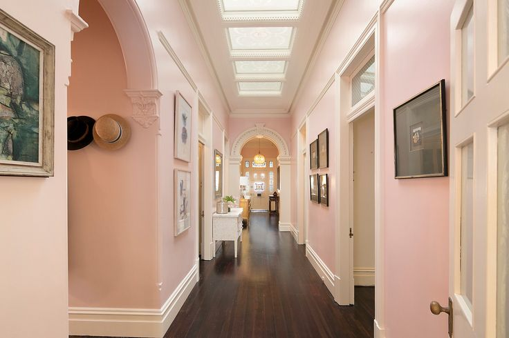 Grand entrance hall, Hand etched glass window and ceiling panels - 17 Toxteth Road Glebe at Pilcher Residential