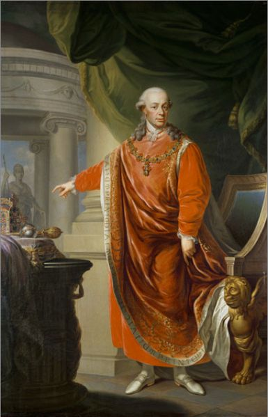 Leopold II (5 May 1747 – 1 March 1792), born Peter Leopold Joseph Anton Joachim Pius Gotthard, was Holy Roman Emperor and King of Hungary and Bohemia from 1790 to 1792, Archduke of Austria and Grand Duke of Tuscany from 1765 to 1790. He was a son of Emperor Francis I and his wife, Empress Maria Theresa. Leopold was a moderate proponent of enlightened absolutism.