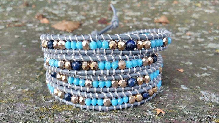 Wrap náramek z polodrahokamene Lapis Lazuli