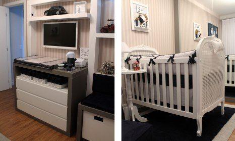 Uma das partes mais importantes do quarto de um bebê é o enxoval. Por isso vale a pena conferir essa linda inspiração nas cores marinho e branco para o quarto do menino.