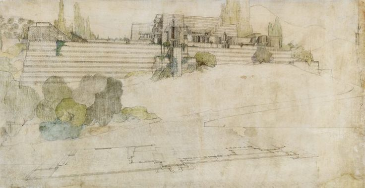Frank Lloyd Wright at 150: Unpacking the Archive at MoMA : The Ennis House in Los Angeles, 1924-25, is depicted from the southwest in this pencil, coloured pencil and ink drawing