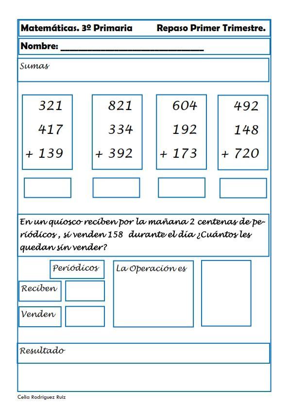 Recursos para el aula: Fichas de matemáticas para Tercero de Primaria Fichas de matemáticas para tercero de primaria, podremos repasar