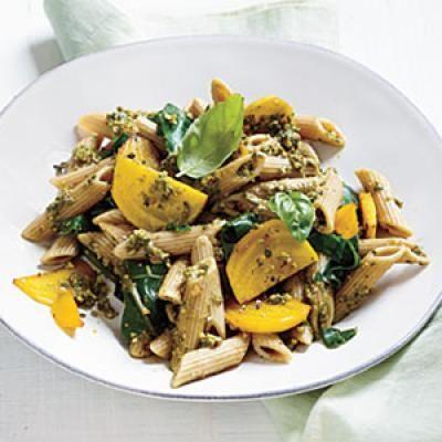 Golden Beet Pasta with Basil-Almond Pesto | CookingLight.com
